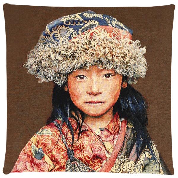 Poduszka dekoracyjna Tibetians Girl Brown