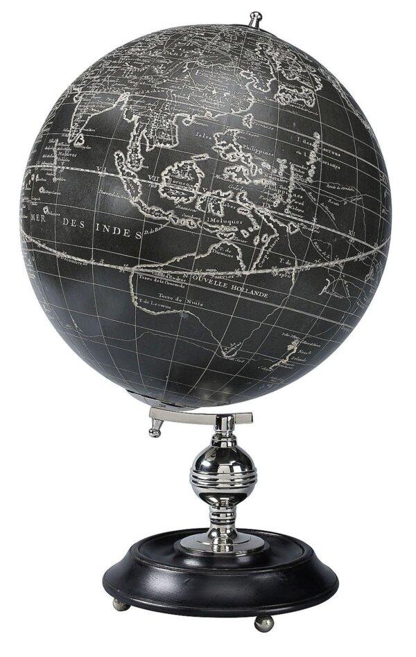 CZARNY GLOBUS Z REPLIKĄ MAPY Z 1745r