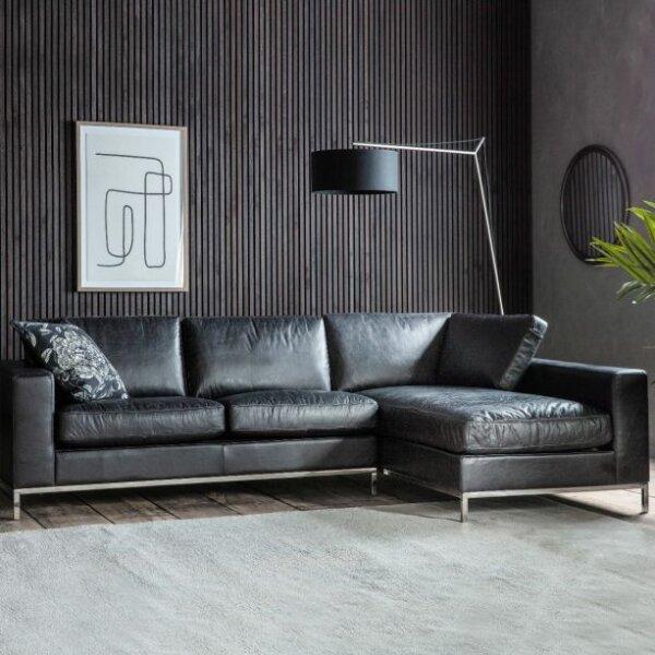 Narożnik Verona Black Leather by Gallery Direct